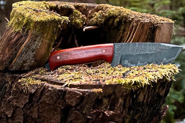 nůž v lese